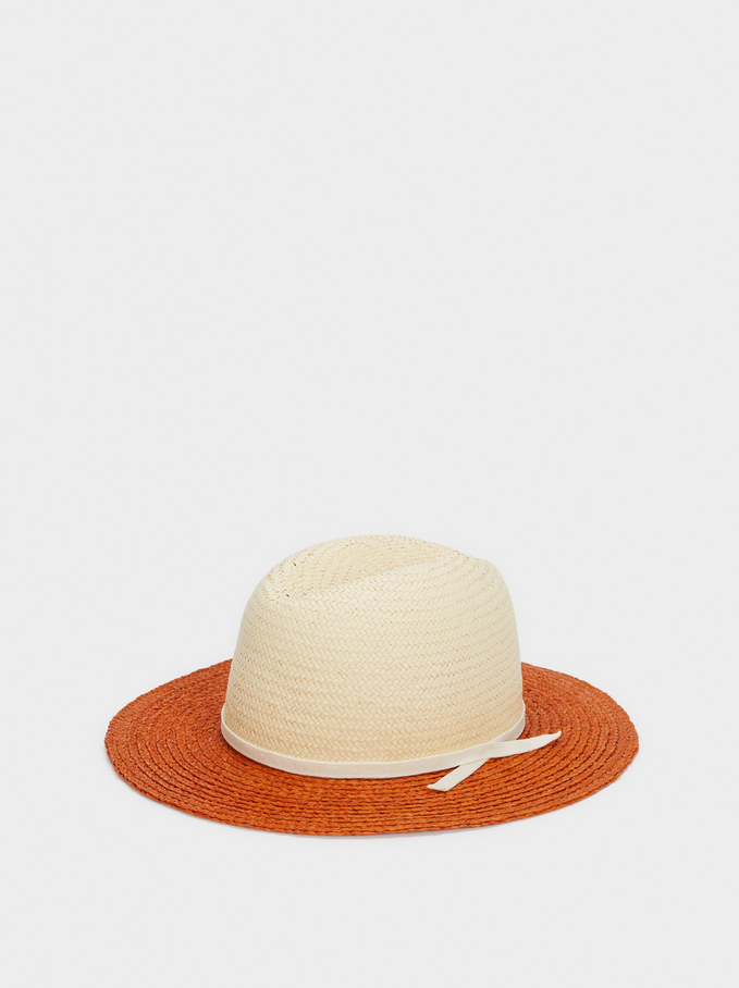 Two-Toned Raffia Hat, Orange, hi-res