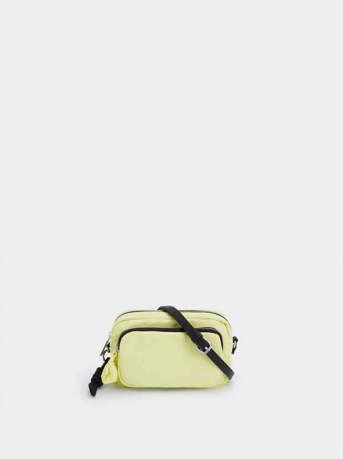 Nylon Crossbody Bag With Outer Pocket, Yellow, hi-res
