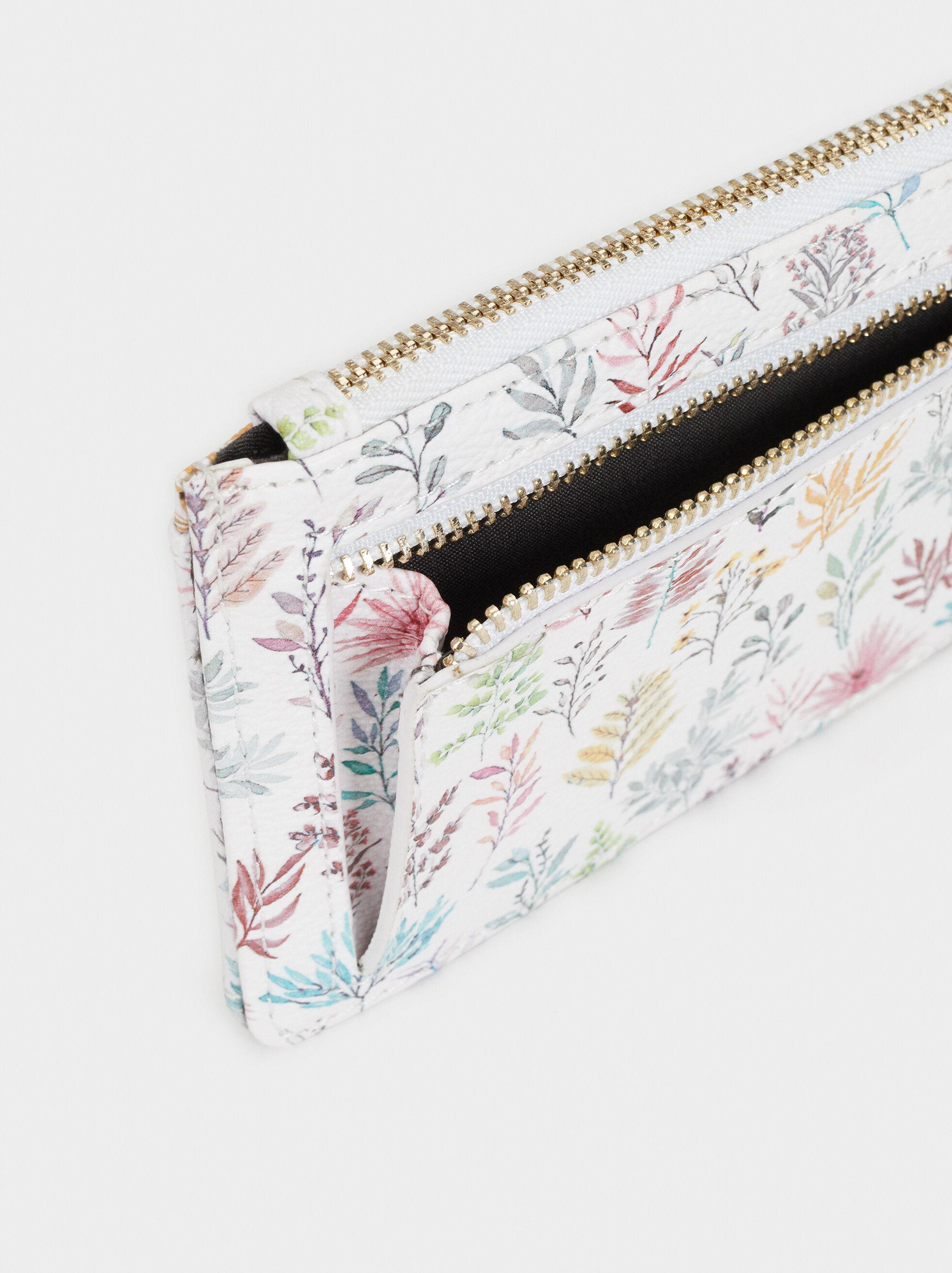 Large Floral Print Card Holder, Pink, hi-res