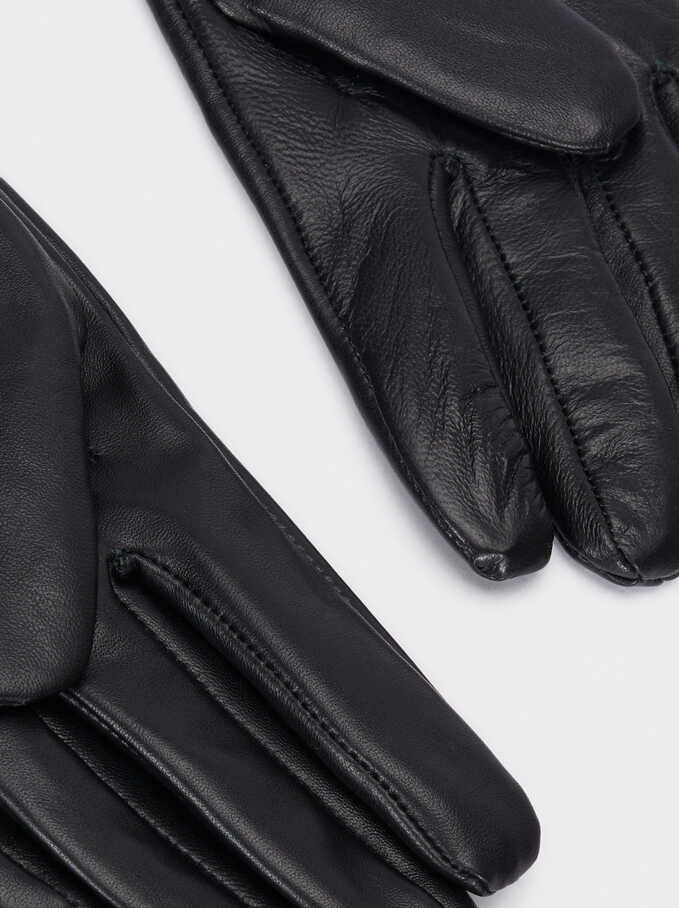 Leather Gloves With Stud Details, Black, hi-res