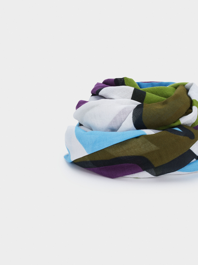 100% Organic Cotton Printed Scarf, Green, hi-res