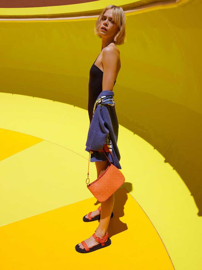 Flat Strappy Sandals, Orange, hi-res