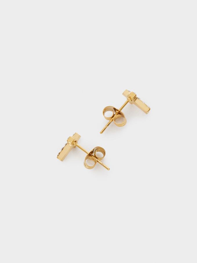 Short Stainless Steel Swarovski Crystals Earrings, Golden, hi-res