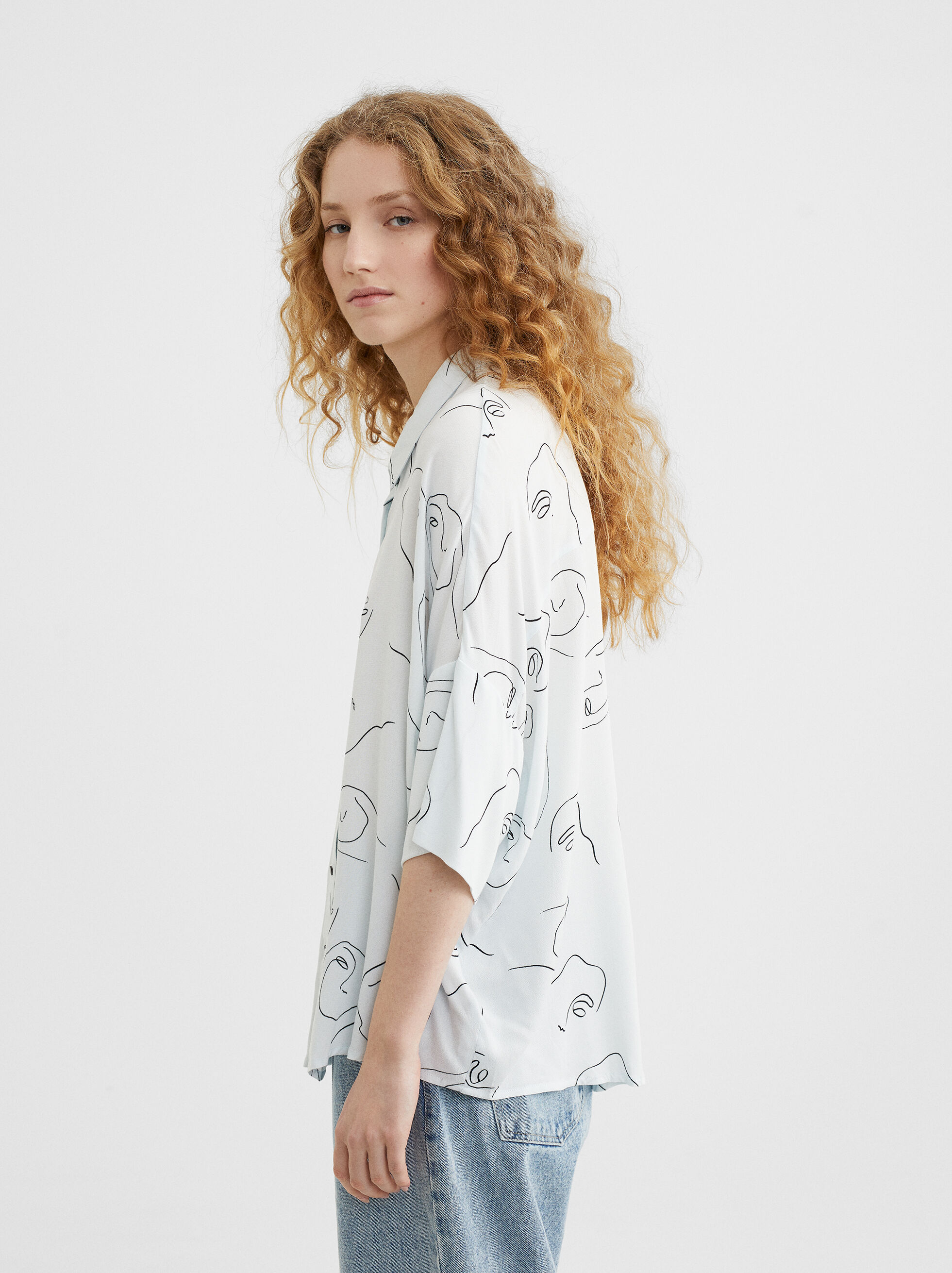 Printed Shirt, Blue, hi-res