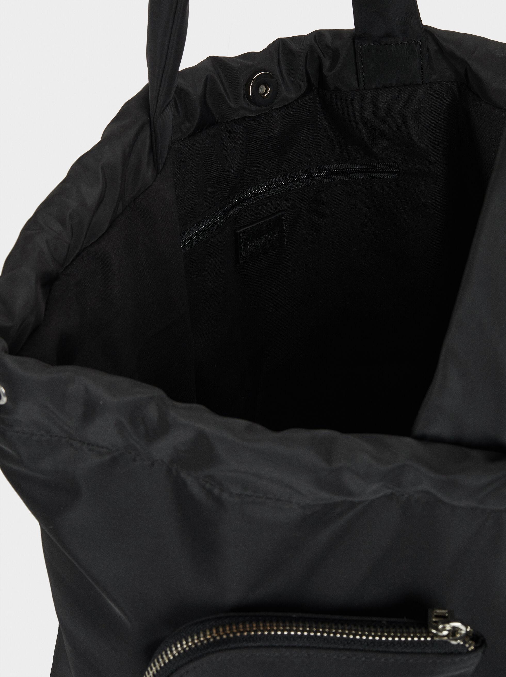 Nylon Tote Bag With Removable Pockets, Black, hi-res