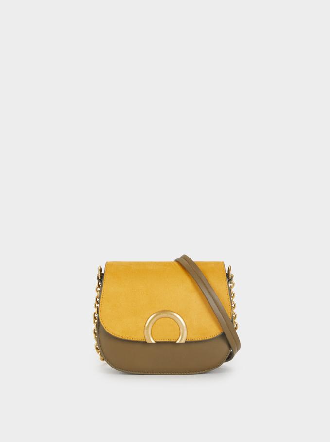 Crossbody Bag With Metal Detail, Khaki, hi-res