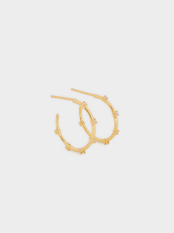 Short 925 Silver Hoops With Zirconia, Golden, hi-res