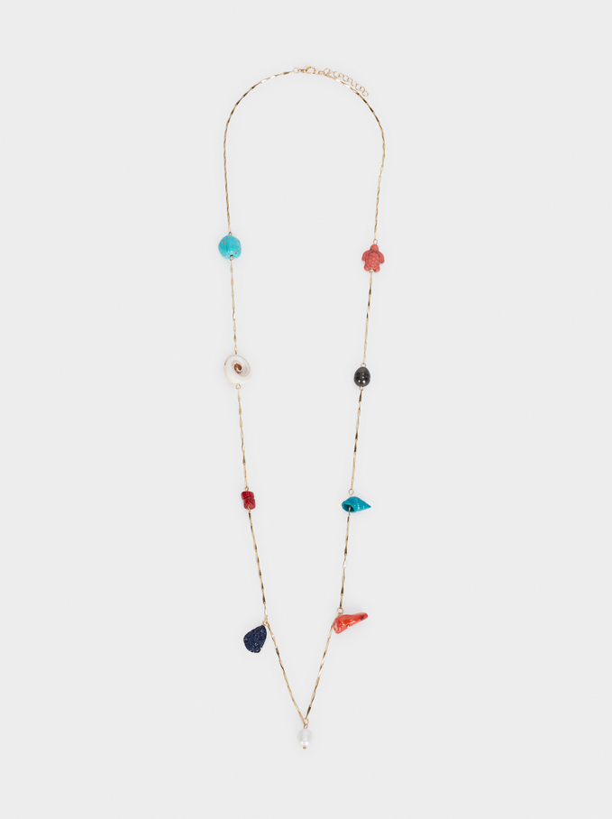 Collier Long Recife Avec Perles Fantaisie, Multicolore, hi-res