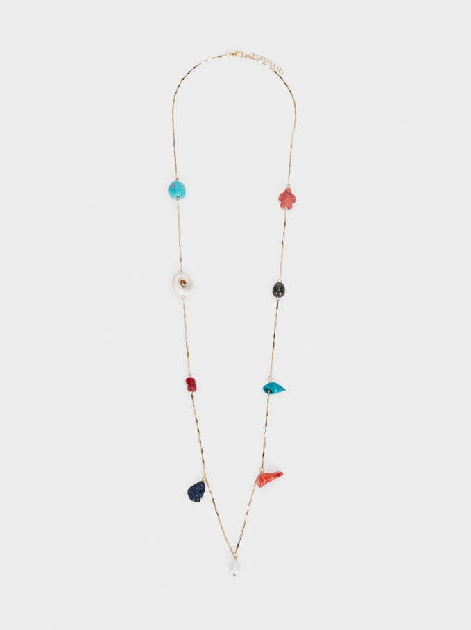 Long Necklace With Stone And Seashell Pendant, Multicolor, hi-res