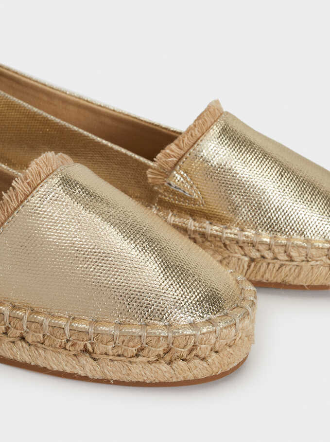 Shiny Finish Espadrilles, Golden, hi-res