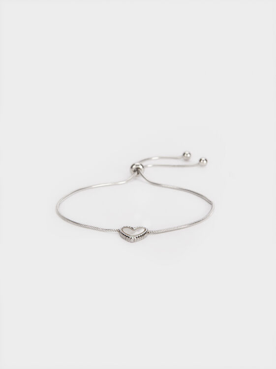 Adjustable Steel Bracelet With Heart, Silver, hi-res