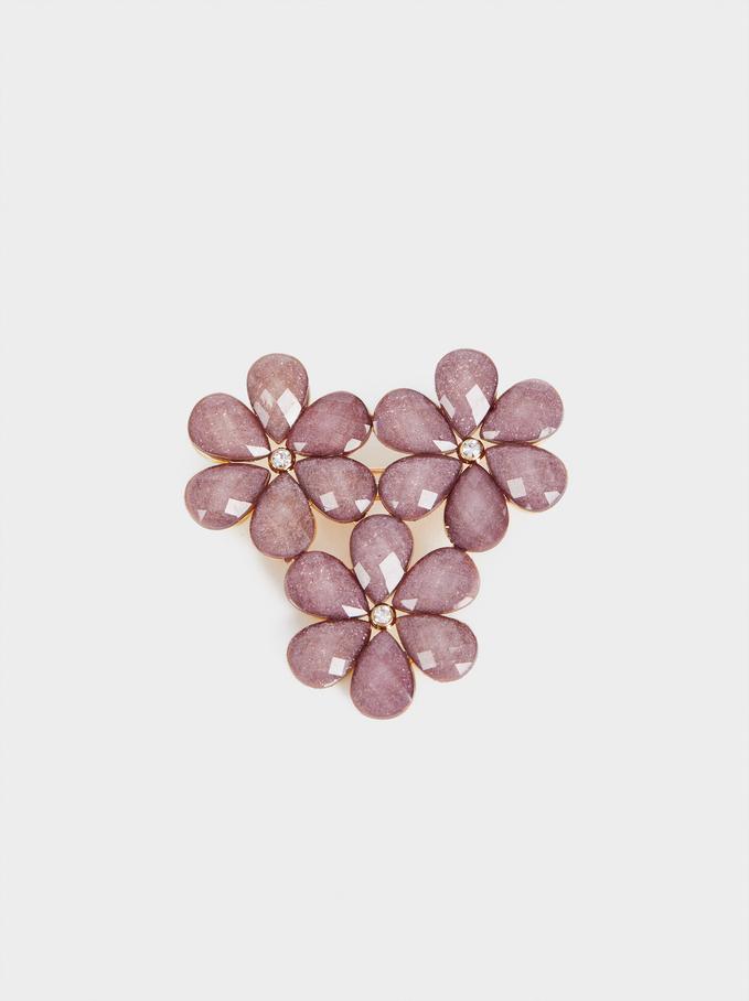 Floral Brooch With Crystals, , hi-res