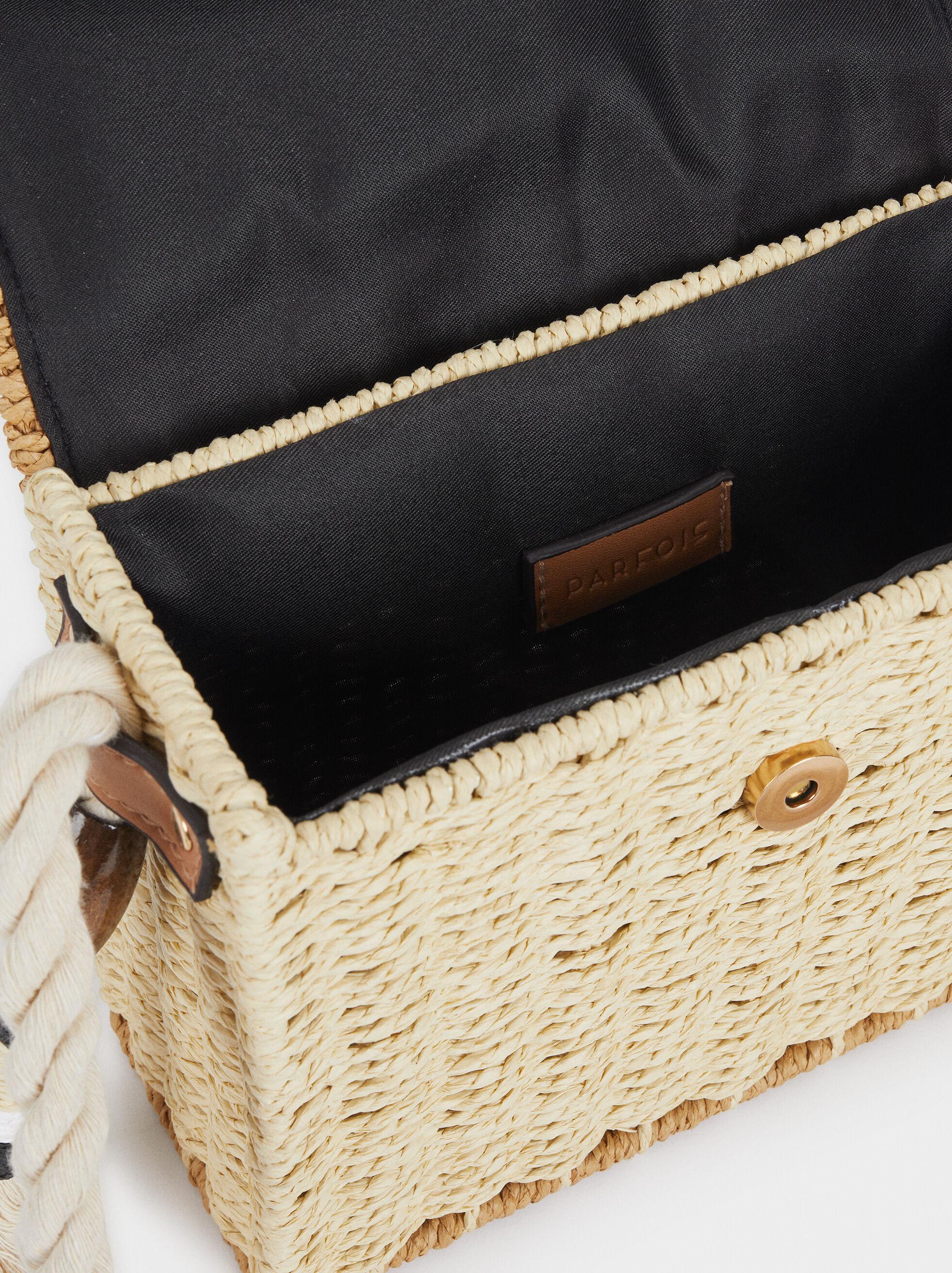 Crossbody Raffia Bag With Flap, Beige, hi-res
