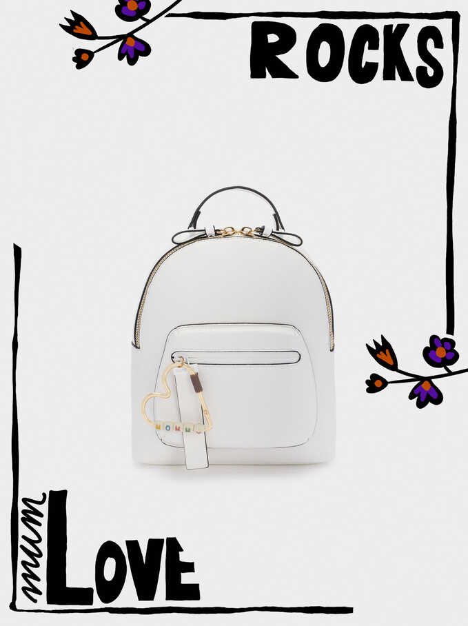 Backpack With Heart Detail, White, hi-res