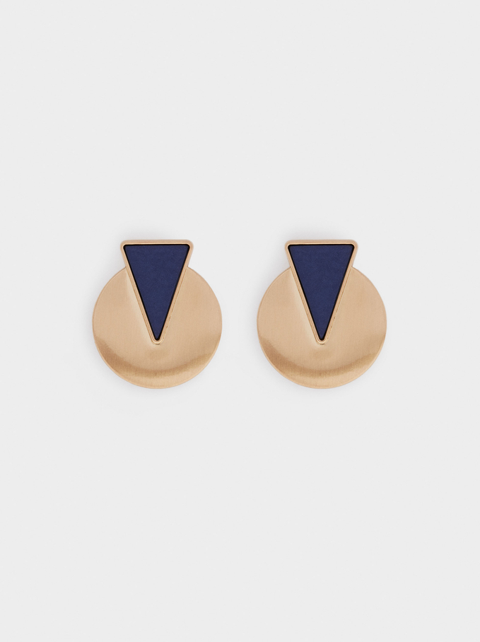 Short Geometric Earrings, Blue, hi-res