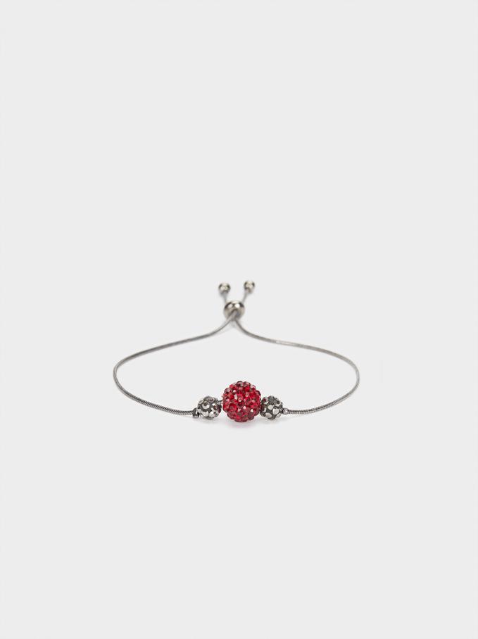 Adjustable Bracelet With Multicoloured Crystals, Bordeaux, hi-res