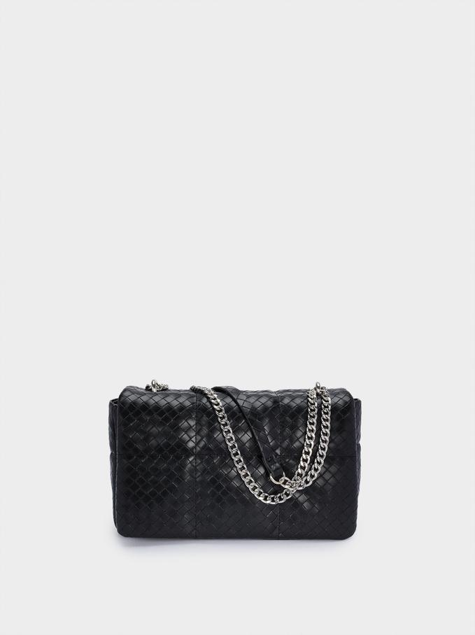 Braided Shoulder Bag With Contrasting Strap, Black, hi-res