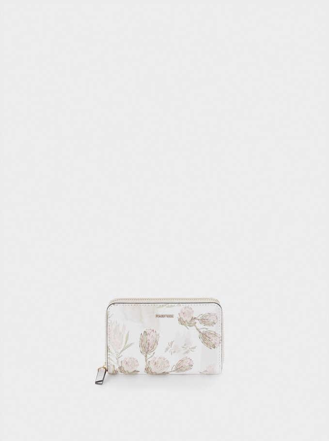 Portefeuille Compact Imprimé Floral, Écru, hi-res