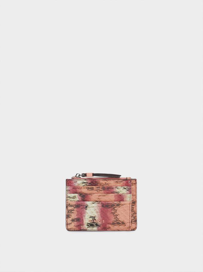 Porte-Cartes Avec Porte-Monnaie Gravé, Marron Clair, hi-res