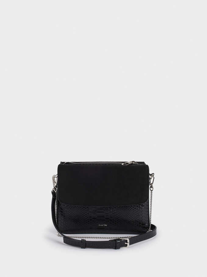 Crossbody Bag With Matching Front Flap Closure, Black, hi-res