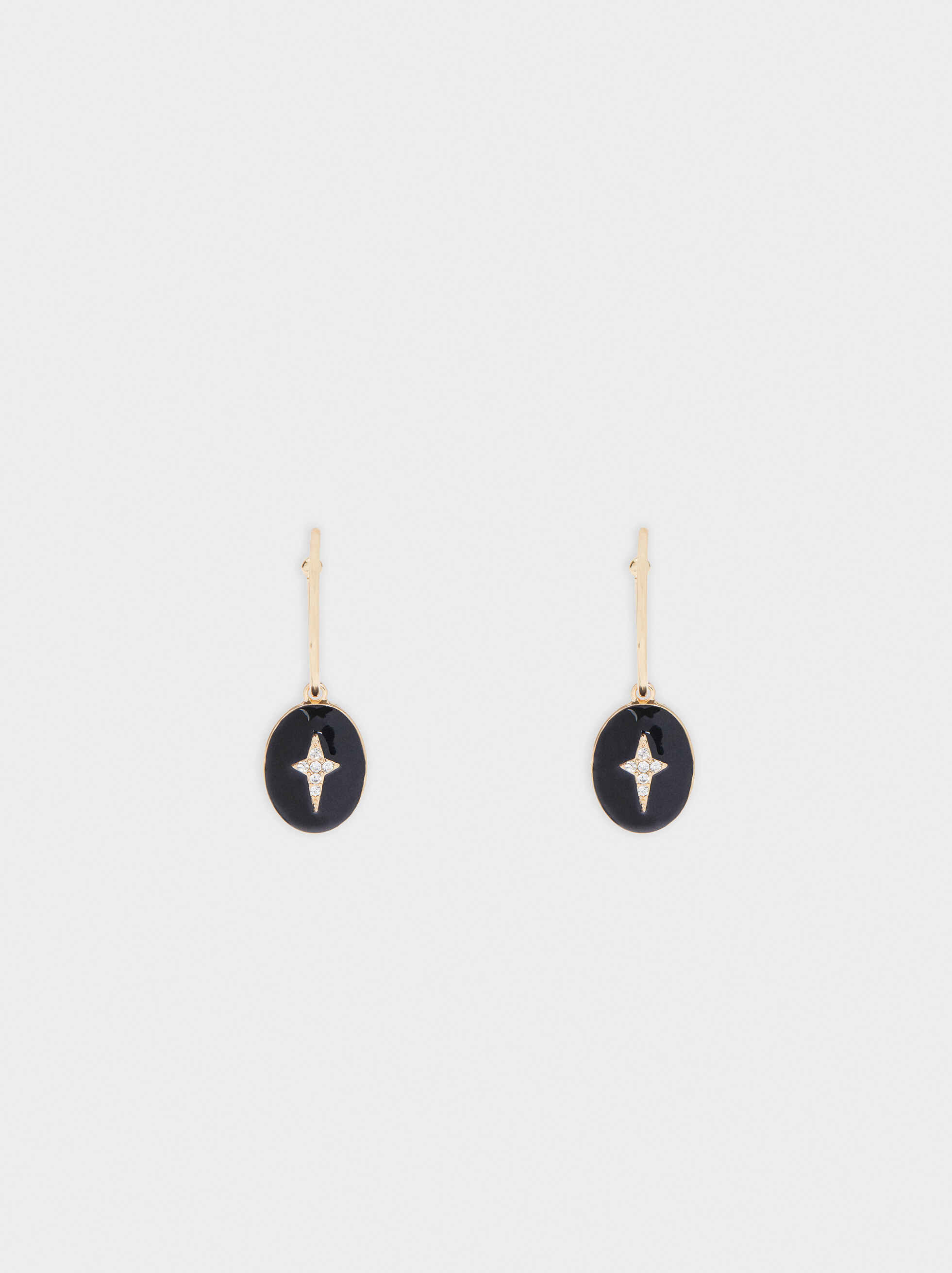 Large Cross Earrings, Black, hi-res