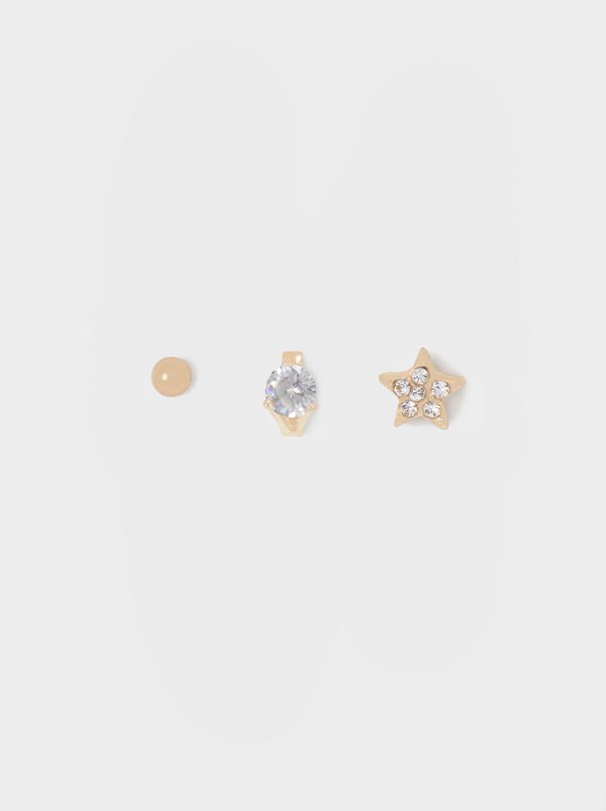 Conjunto De Pendientes Estrella Y Cristales, Dorado, hi-res