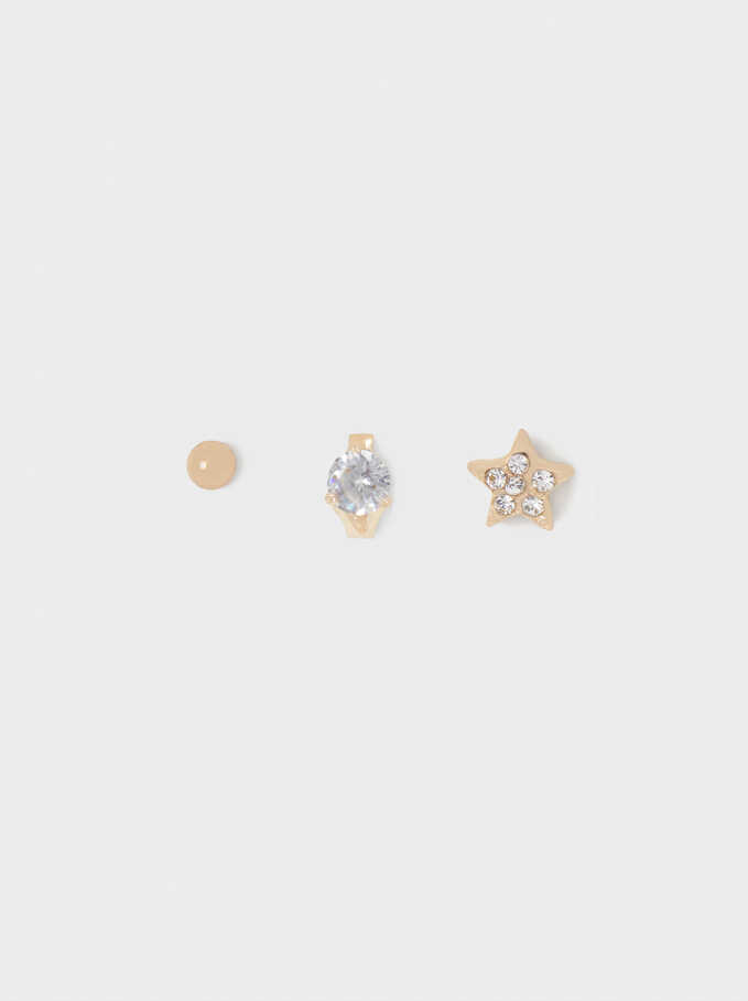Star And Crystals Earrings, Golden, hi-res