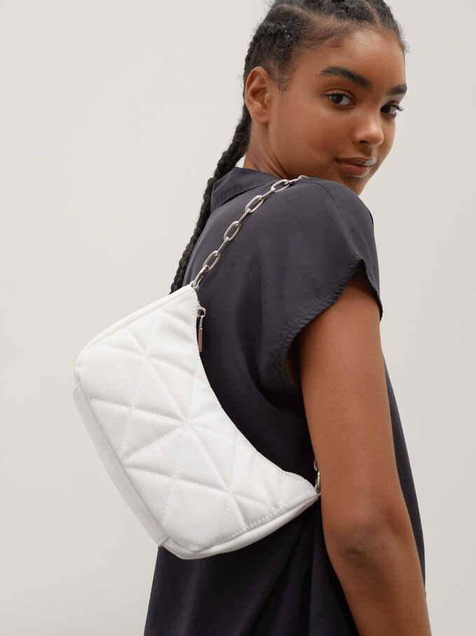 Quilted Shoulder Bag With Double Strap, White, hi-res