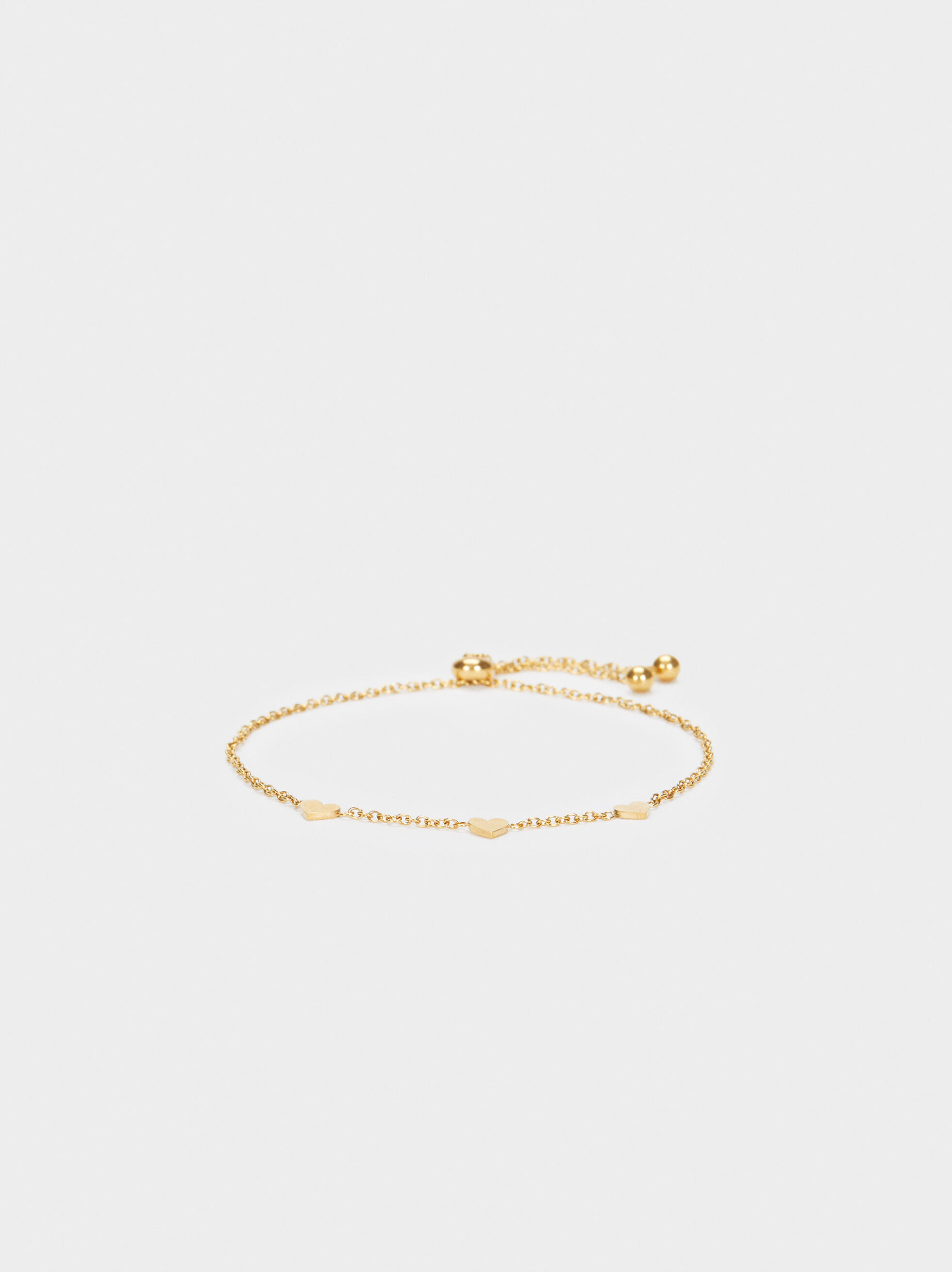 Stainless Steel Bracelet With Golden Heart, , hi-res