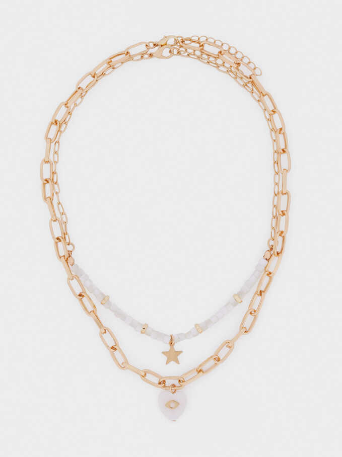 Set Of Contrasting Necklaces With Star And Heart, Golden, hi-res