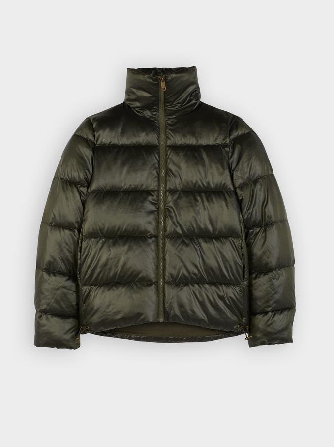 High Neck Puffer Coat , Green, hi-res