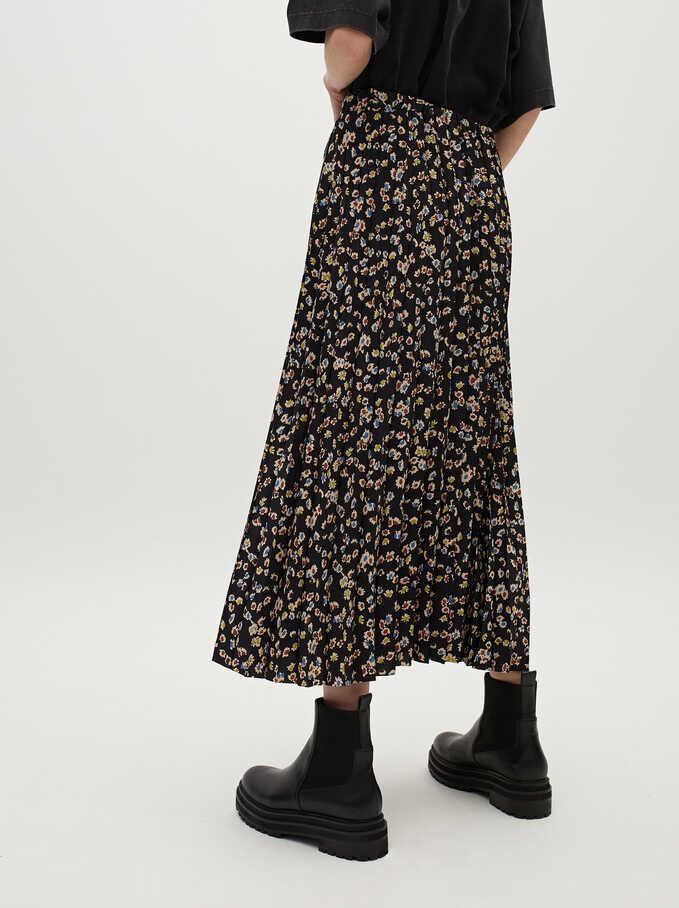Floral Print Skirt, Black, hi-res