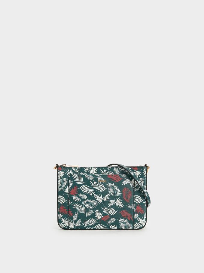 Printed Crossbody Bag, Green, hi-res