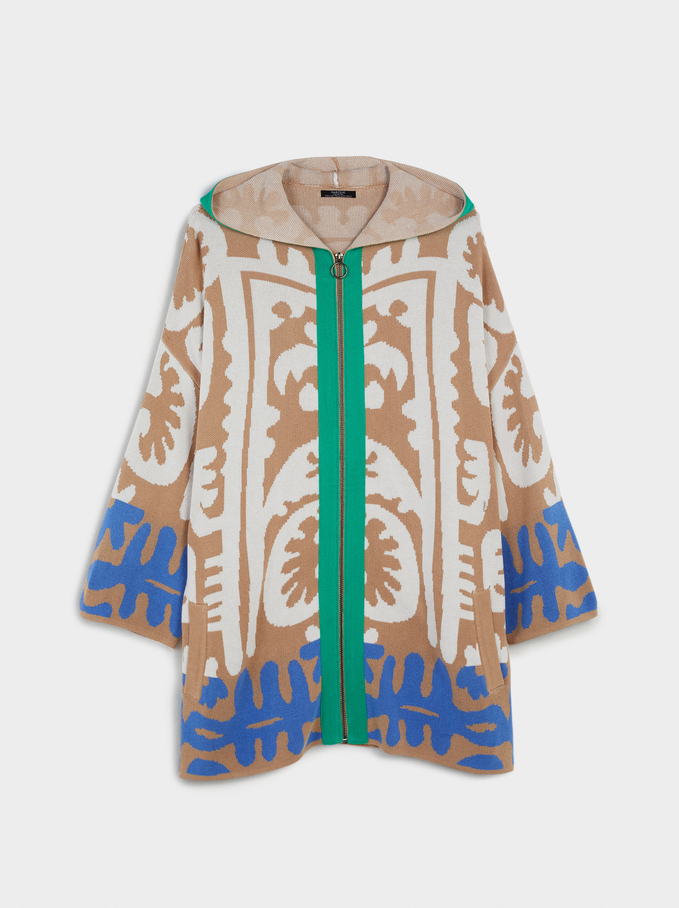 Knitted Cardigan With Hood, Multicolor, hi-res