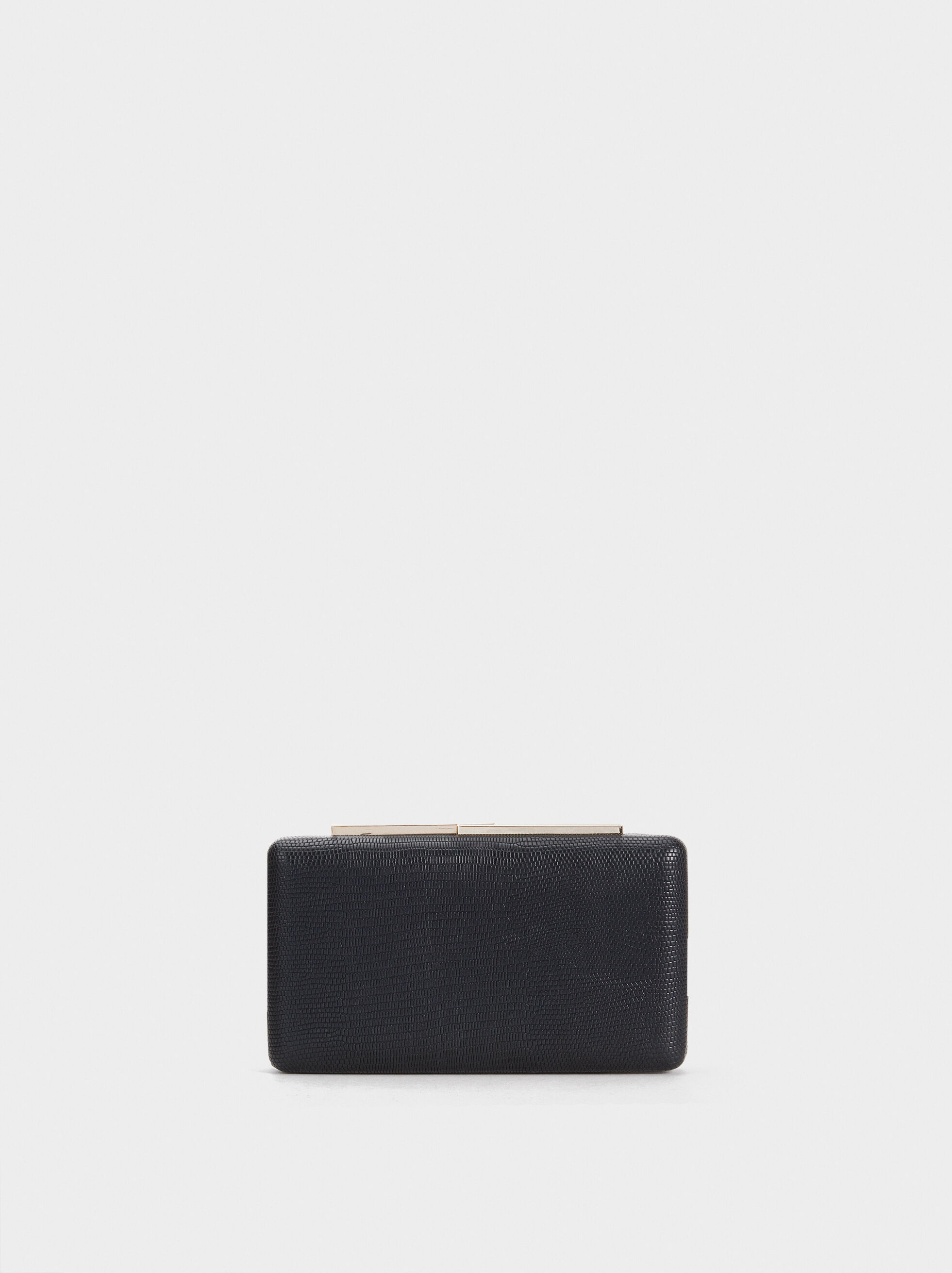 Animal Embossed Clutch, Black, hi-res