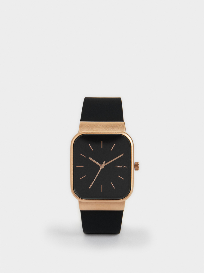 Watch With Silicone Strap And A Square Face, Black, hi-res