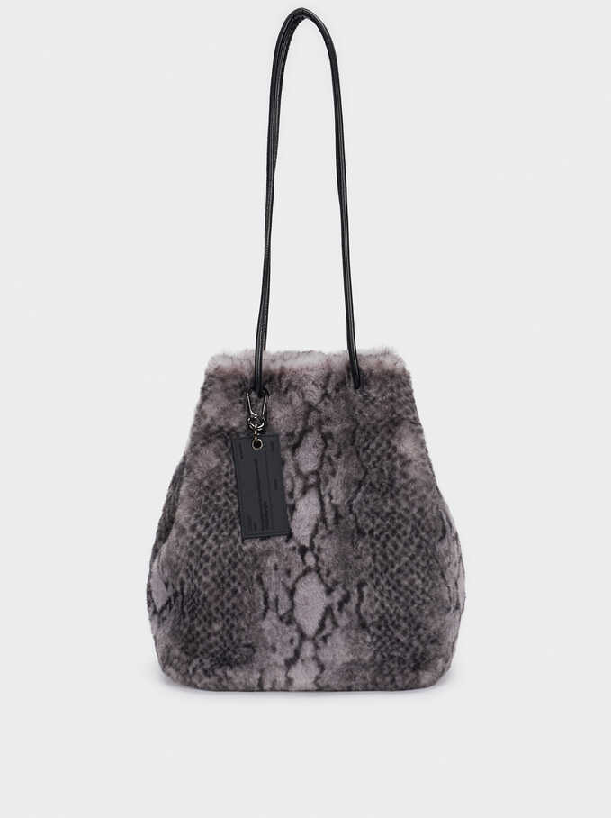 Snake Print Bucket Bag, Grey, hi-res
