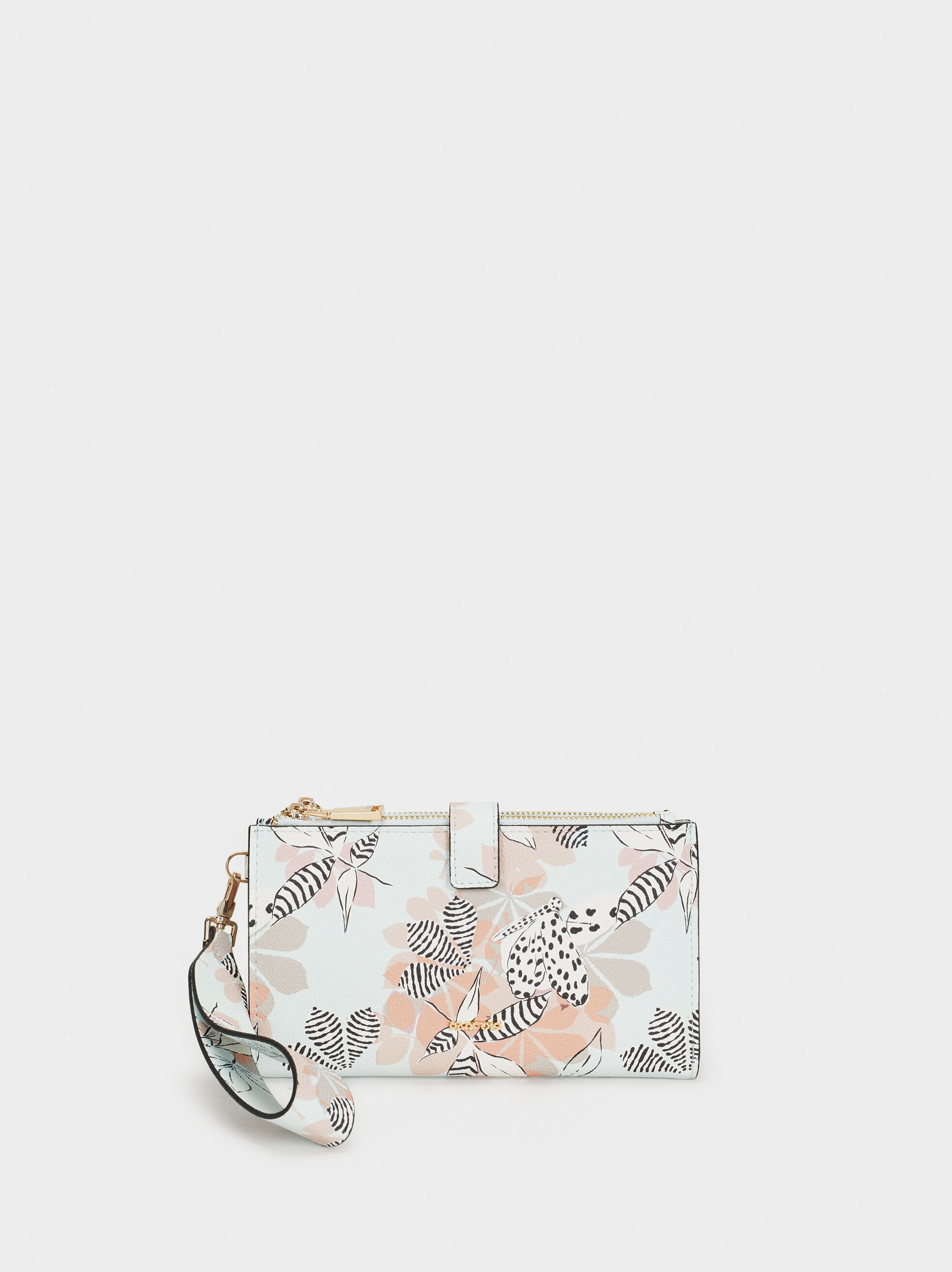 Large Floral Print Purse, Blue, hi-res