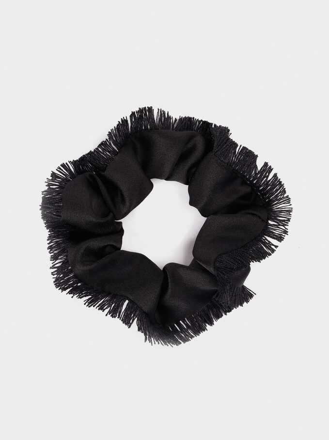 Fringed Scrunchie, Black, hi-res