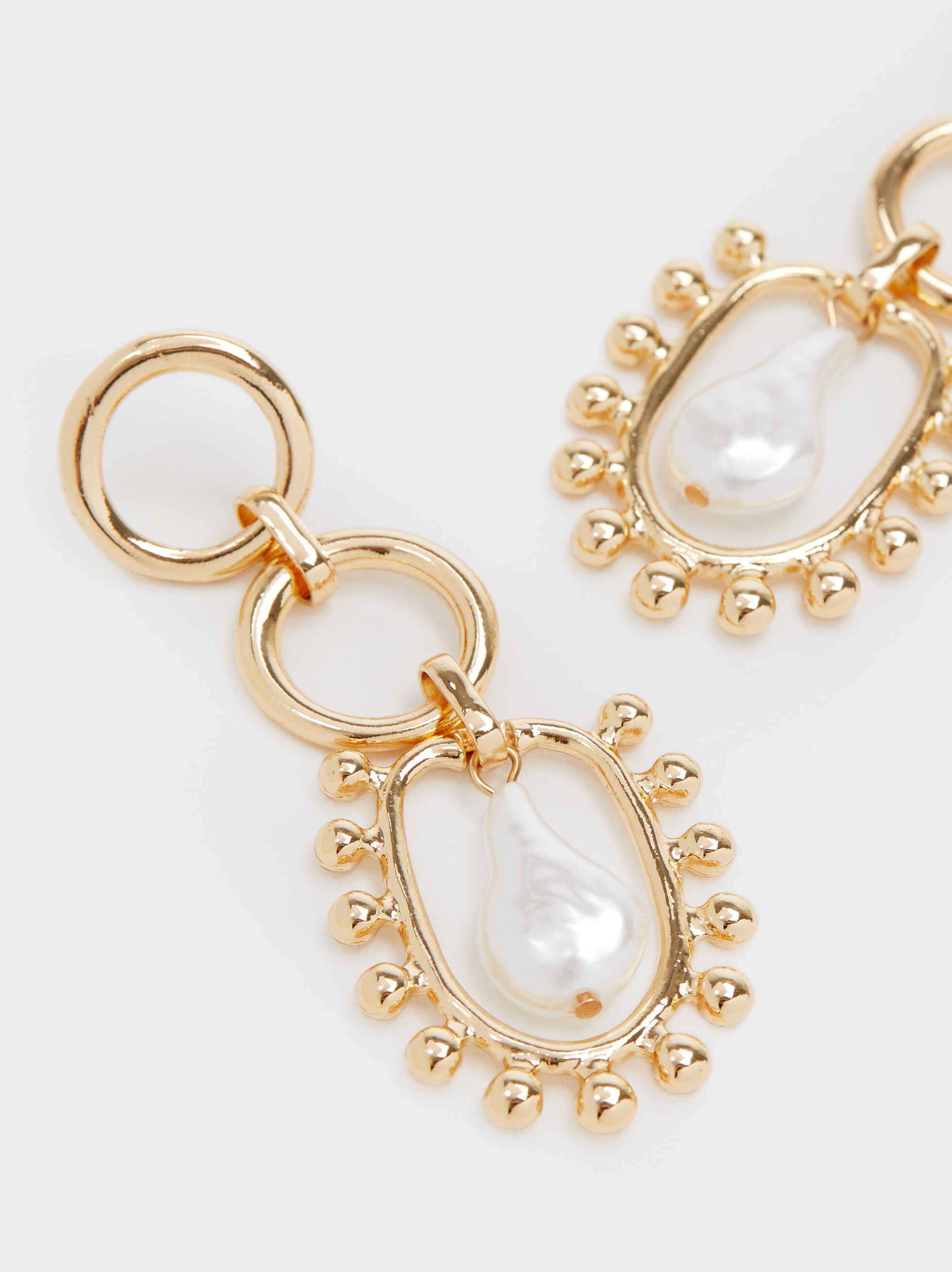 Long Gold Earrings With Faux Pearl, Golden, hi-res