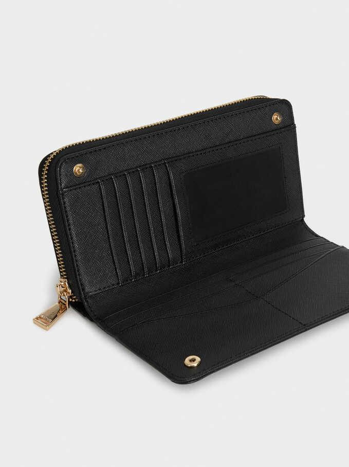 Plain Long Wallet, Black, hi-res