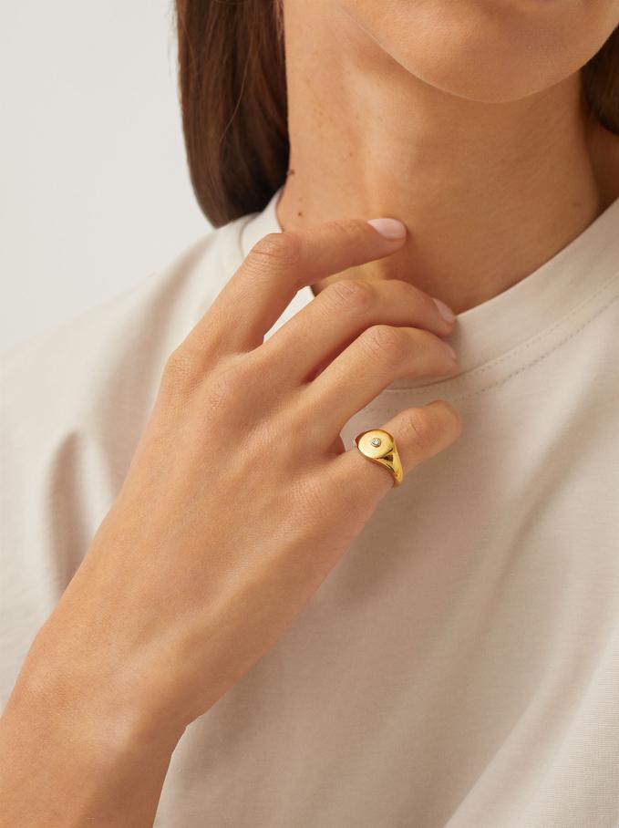 Pinky Finger Stainless Steel Signet Ring, Golden, hi-res