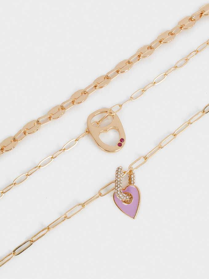 Set Of Contrasting Necklaces With Pendants, Golden, hi-res