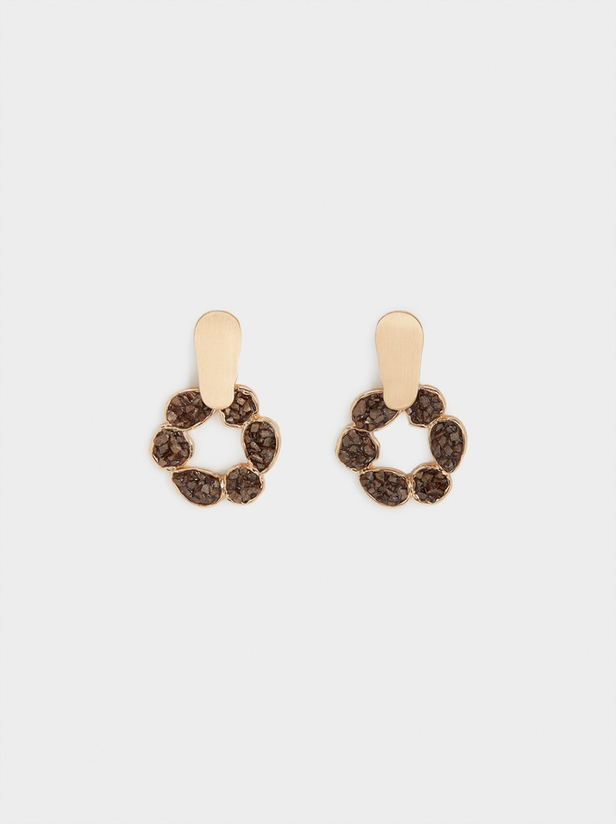 Earrings With Crystals, Brown, hi-res