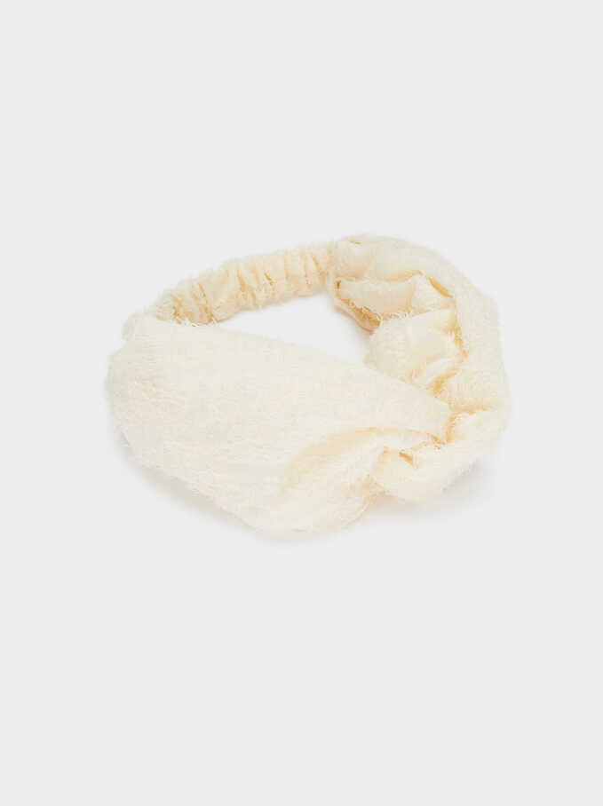 Frayed-Edge Turban-Style Headband, Beige, hi-res