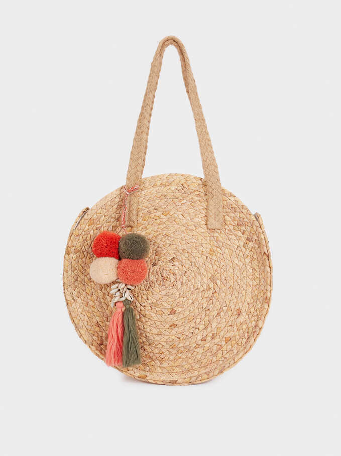 Round Raffia Shopper With Charm, Ecru, hi-res