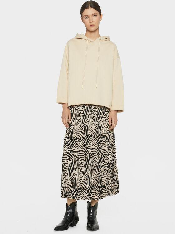 Animal Print Pleated Skirt, Black, hi-res