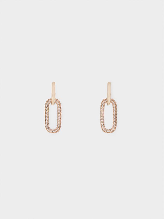 Small Hoop Earrings With Zirconia, Golden, hi-res