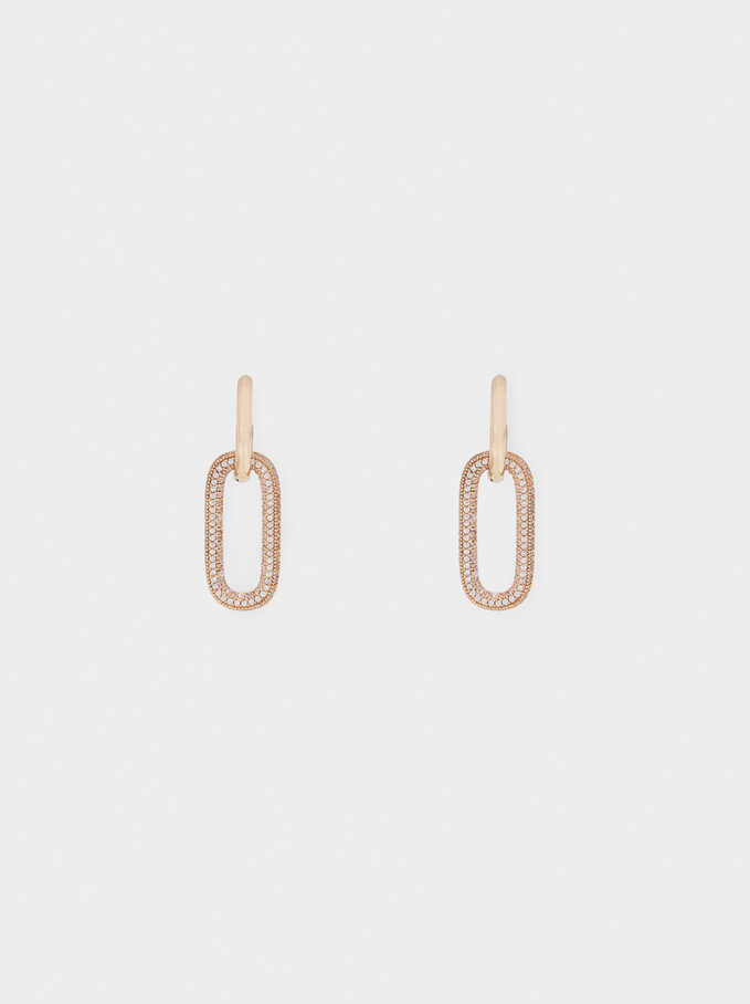 Small Hoop Earrings With Zirconia, Golden, hi-res