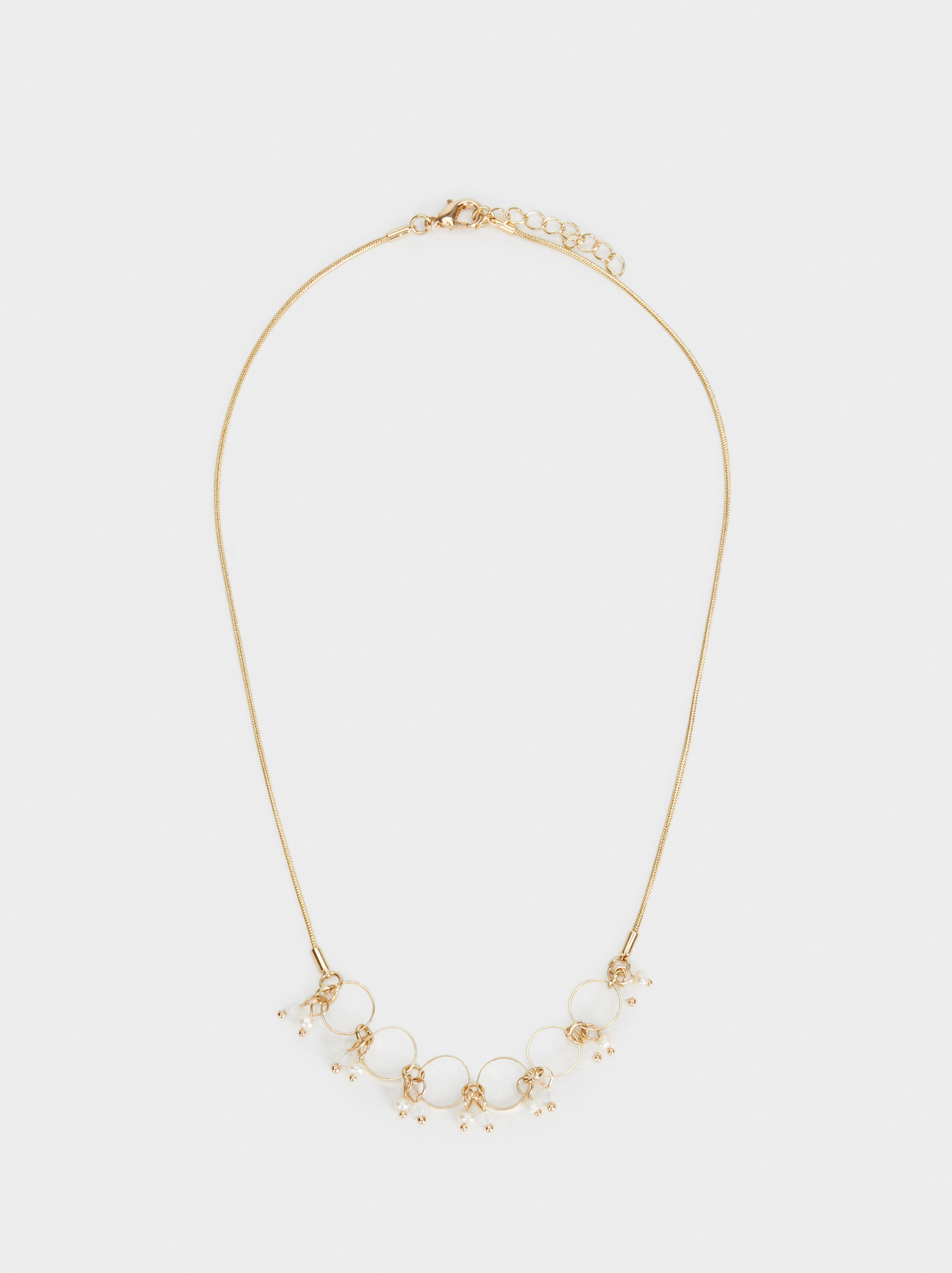 Short Faux Pearl Necklace, , hi-res